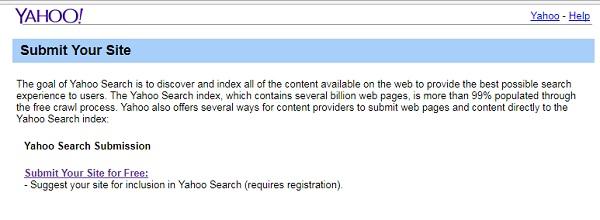 indicizzare sito su Yahoo
