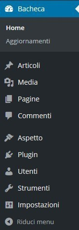 menu pannello di amministrazione wordpress