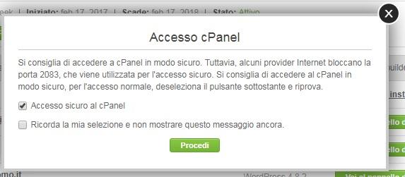 accesso cPanel Siteground