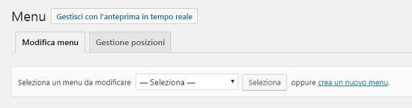 creare nuovo menu wordpress