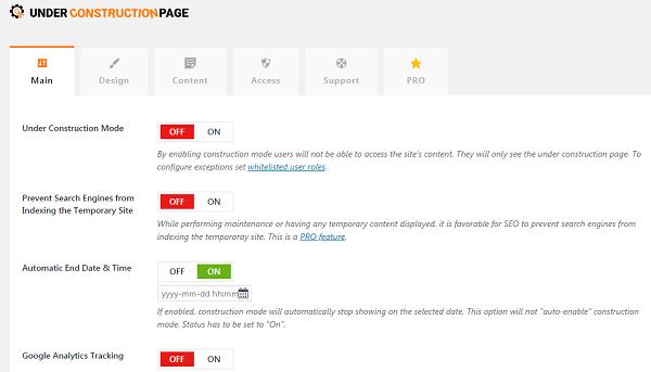 impostazione data termine pagina sito in costruzione