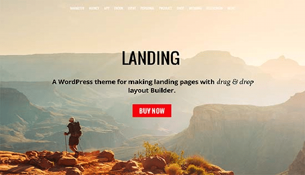 landing template wordpress per travel blog