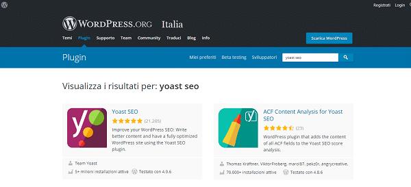 ricercare plugin yoast seo nella repositary wordpress