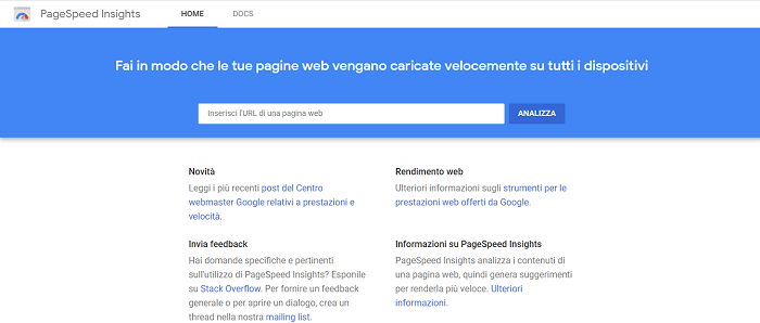 test velocità sito web google